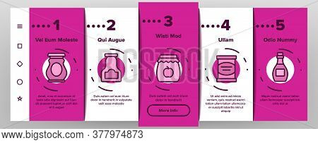 Pickled Product Food Onboarding Mobile App Page Screen Vector. Pickled Berry And Fruit, Vegetables A