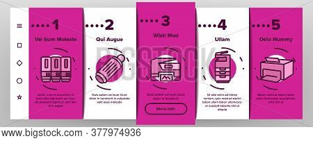 Photocopier Device Onboarding Mobile App Page Screen Vector. Professional Photocopier And Scanner Eq