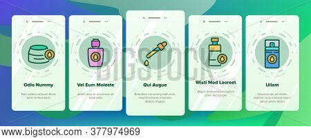 Oil Cosmetic Skin Care Onboarding Mobile App Page Screen Vector. Essential Aromatic Oil Container An