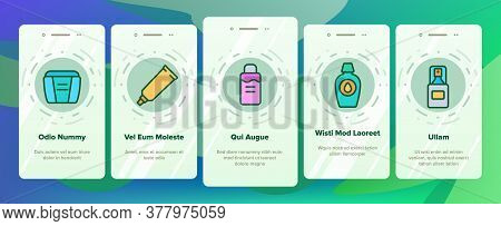 Makeup Remover Lotion Onboarding Mobile App Page Screen Vector. Cosmetic Makeup Remover Cotton And S