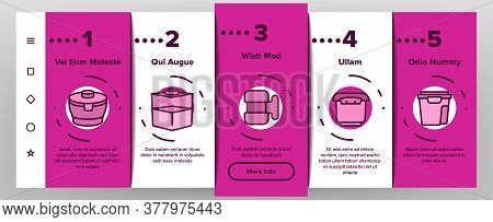 Food Container Package Onboarding Mobile App Page Screen Vector. Plastic Container For Transportatio