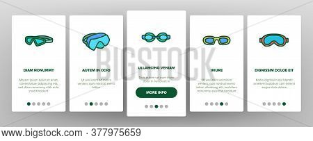 Diving Goggles Tool Onboarding Mobile App Page Screen Vector. Diving Goggles Safety Glasses Accessor