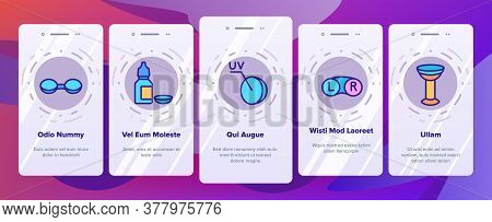 Contact Lens Accessory For Vision Onboarding Mobile App Page Screen Vector. Contact Lens Package And