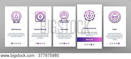 Compass Navigational Equipment Onboarding Mobile App Page Screen Vector. Compass Tool Application Fo
