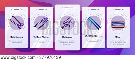 Chopstick Utensil Onboarding Mobile App Page Screen Vector. Chopstick Bamboo Wooden Kitchenware For