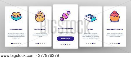 Chocolate Sweet Food Onboarding Mobile App Page Screen Vector. Chocolate Candy And Cake, Pie With Ch