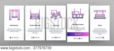 Bench Swing Furniture Onboarding Mobile App Page Screen Vector. Bench Swing In Different Style, Comf