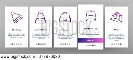 Beanie Seasonal Hat Onboarding Mobile App Page Screen Vector. Beanie Cap And Head Facial Mask Season