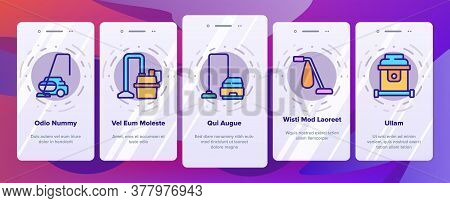 Wet Vacuum Cleaner Onboarding Mobile App Page Screen Vector. Cleaner Cart For Wash Floor In Supermar