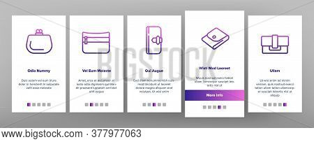 Wallet Accessory Cash Onboarding Mobile App Page Screen Vector. Wallet In Different Style For Storag