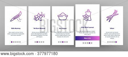 Vanilla Flower Onboarding Mobile App Page Screen Vector. Vanilla Stick Ingredient For Ice Cream And