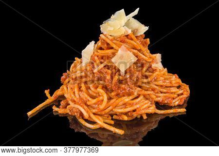 Tasty Spaghetti Bolognese With Cheese With Reflection, Isolated On Black Background