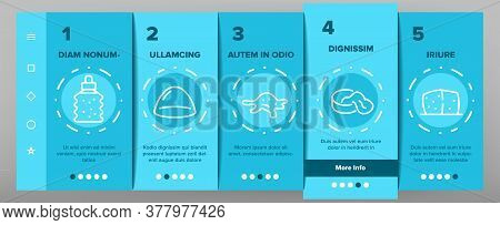 Slime Mucus Liquid Onboarding Mobile App Page Screen Vector. Slime In Bottle And Container, Tube And