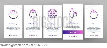 Mangosteen Sweet Fruit Onboarding Mobile App Page Screen Vector. Mangosteen Juice And Candy, Tea And