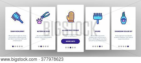 Grooming Animal Tool Onboarding Mobile App Page Screen Vector. Equipment For Grooming Pet Claws And