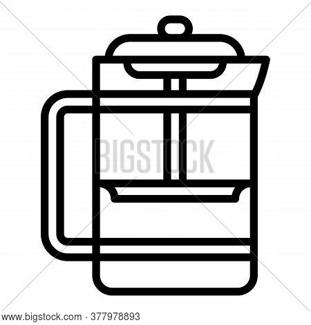 Coffee Glass Press Icon. Outline Coffee Glass Press Vector Icon For Web Design Isolated On White Bac