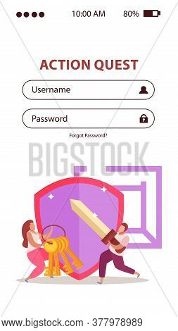 Quest Game Flat Vertical Background For Mobile Version Website Username And Password Fields And Dood