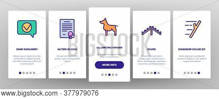 Dog Training Equipment Onboarding Mobile App Page Screen Vector. Animal Dog With Muzzle And Medal, C
