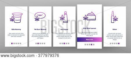 Cbd Cannabis Product Onboarding Mobile App Page Screen Vector. Cannabis Drink And Ice Cream, Cake An