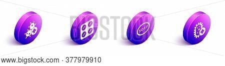 Set Isometric Positive Virus, Pills In Blister Pack, Bar Of Soap And Positive Virus Icon. Vector