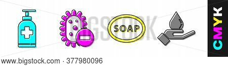 Set Bottle Of Liquid Antibacterial Soap, Negative Virus, Bar Of Soap And Washing Hands With Soap Ico
