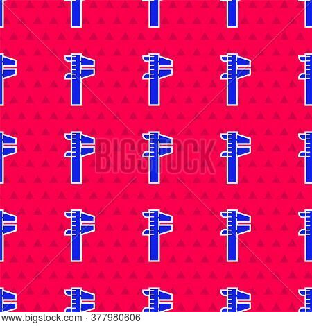 Blue Calliper Or Caliper And Scale Icon Isolated Seamless Pattern On Red Background. Precision Measu