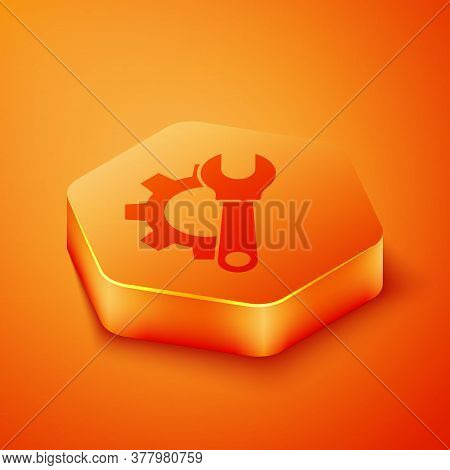 Isometric Wrench Spanner And Gear Icon Isolated On Orange Background. Adjusting, Service, Setting, M