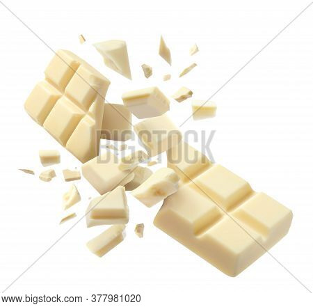 Chocolate Explosion, Pieces Shattering On White Background