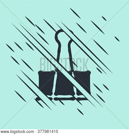 Black Binder Clip Icon Isolated On Green Background. Paper Clip. Glitch Style. Vector Illustration