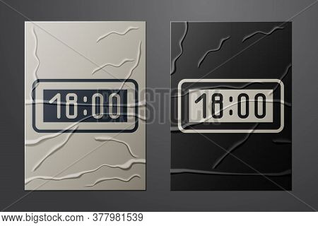 White Digital Alarm Clock Icon Isolated On Crumpled Paper Background. Electronic Watch Alarm Clock.