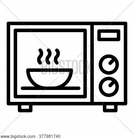 Bowl In Microwave Icon. Outline Bowl In Microwave Vector Icon For Web Design Isolated On White Backg