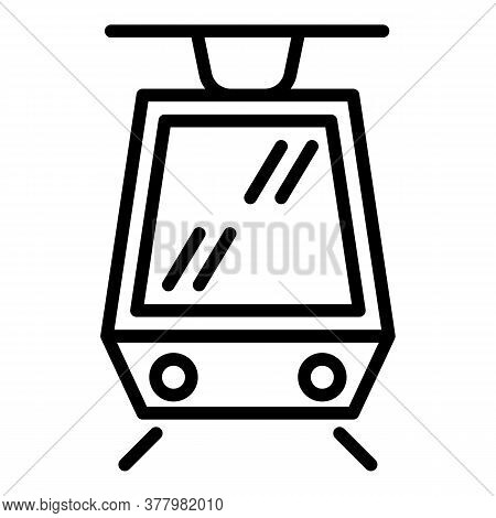 Modern Tram Car Icon. Outline Modern Tram Car Vector Icon For Web Design Isolated On White Backgroun