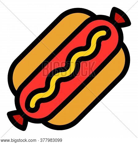 American Hot Dog Icon. Outline American Hot Dog Vector Icon For Web Design Isolated On White Backgro