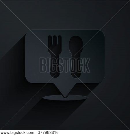 Paper Cut Cafe And Restaurant Location Icon Isolated On Black Background. Fork And Spoon Eatery Sign