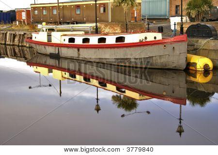 Houseboat Or Barge In Leith Docks, Edinburgh, Scotland.