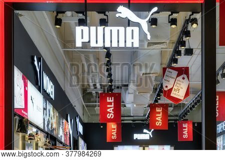 Bangkok, Thailand - June, 2020 :  Puma Icon Sign And Brand Shop In Iconsiam Department Store On June