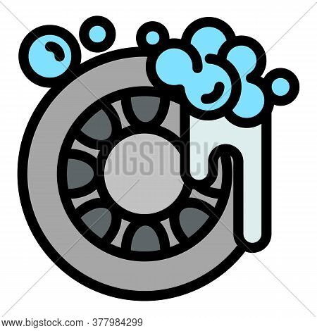 Car Tire Wash Icon. Outline Car Tire Wash Vector Icon For Web Design Isolated On White Background