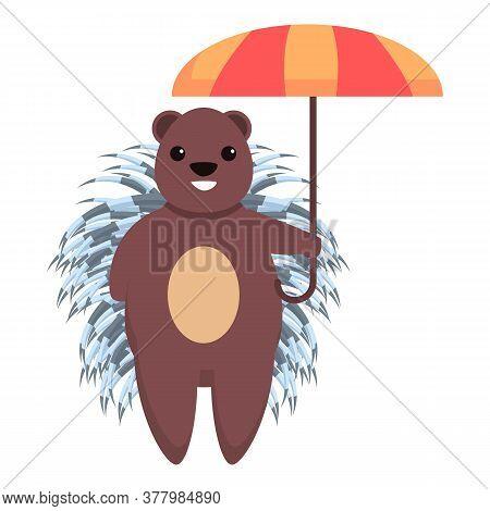Porcupine With Umbrella Icon. Cartoon Of Porcupine With Umbrella Vector Icon For Web Design Isolated