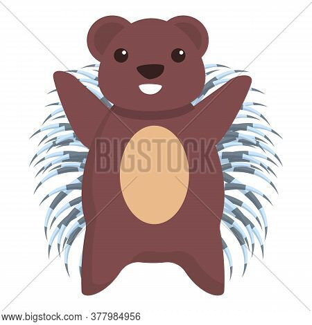 Smiling Porcupine Icon. Cartoon Of Smiling Porcupine Vector Icon For Web Design Isolated On White Ba