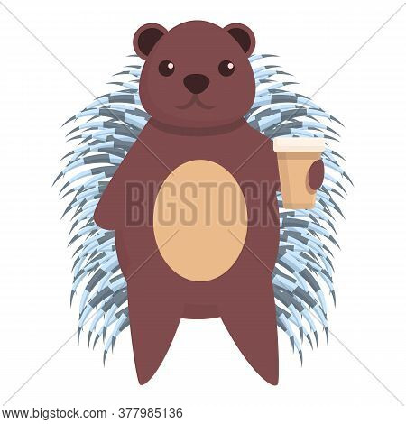 Porcupine Coffee Cup Icon. Cartoon Of Porcupine Coffee Cup Vector Icon For Web Design Isolated On Wh