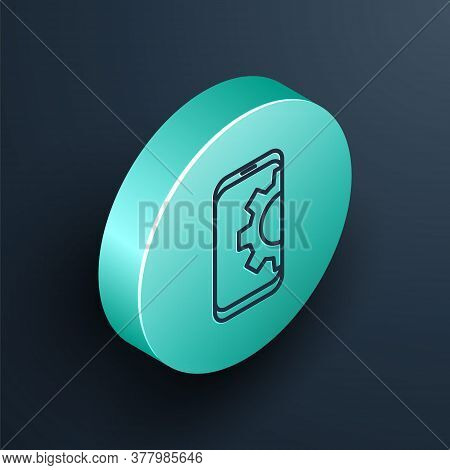 Isometric Line Setting On Smartphone Icon Isolated On Black Background. Adjusting, Service, Setting,