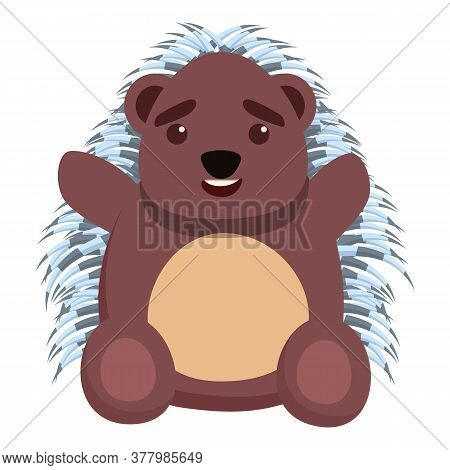 Kid Porcupine Icon. Cartoon Of Kid Porcupine Vector Icon For Web Design Isolated On White Background