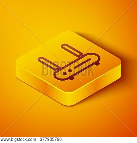 Isometric Line Router And Wi-fi Signal Icon Isolated On Orange Background. Wireless Ethernet Modem R