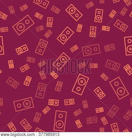 Brown Line Stereo Speaker Icon Isolated Seamless Pattern On Red Background. Sound System Speakers. M