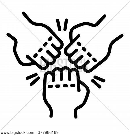 Fist Teamwork Icon. Outline Fist Teamwork Vector Icon For Web Design Isolated On White Background