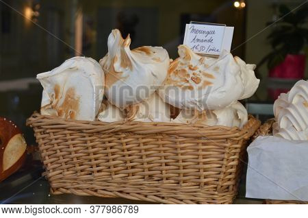 Close Up Of Sweet Meringues - Traditional Dessert Or Candy In French Cuisine Made From Whipped Egg W