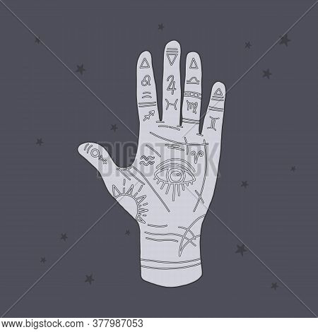 Vector Mystical Illustration Of Mudra Hand With Zodiac Signs. Astrological And Esoteric Concept. Her