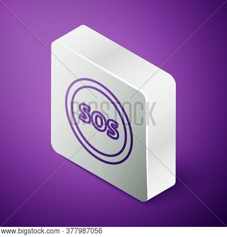 Isometric Line Location With Sos Icon Isolated On Purple Background. Sos Call Marker. Map Pointer Si