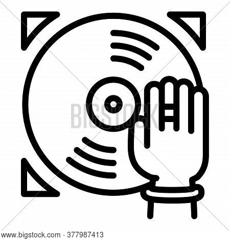 Dj Vinyl Disc Icon. Outline Dj Vinyl Disc Vector Icon For Web Design Isolated On White Background