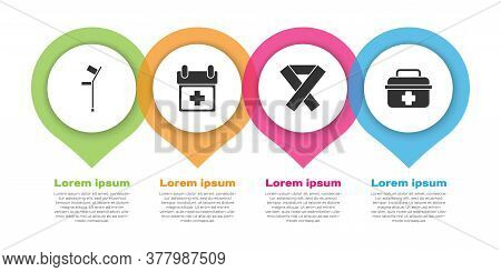 Set Crutch Or Crutches, Doctor Appointment, Awareness Ribbon And First Aid Kit. Business Infographic